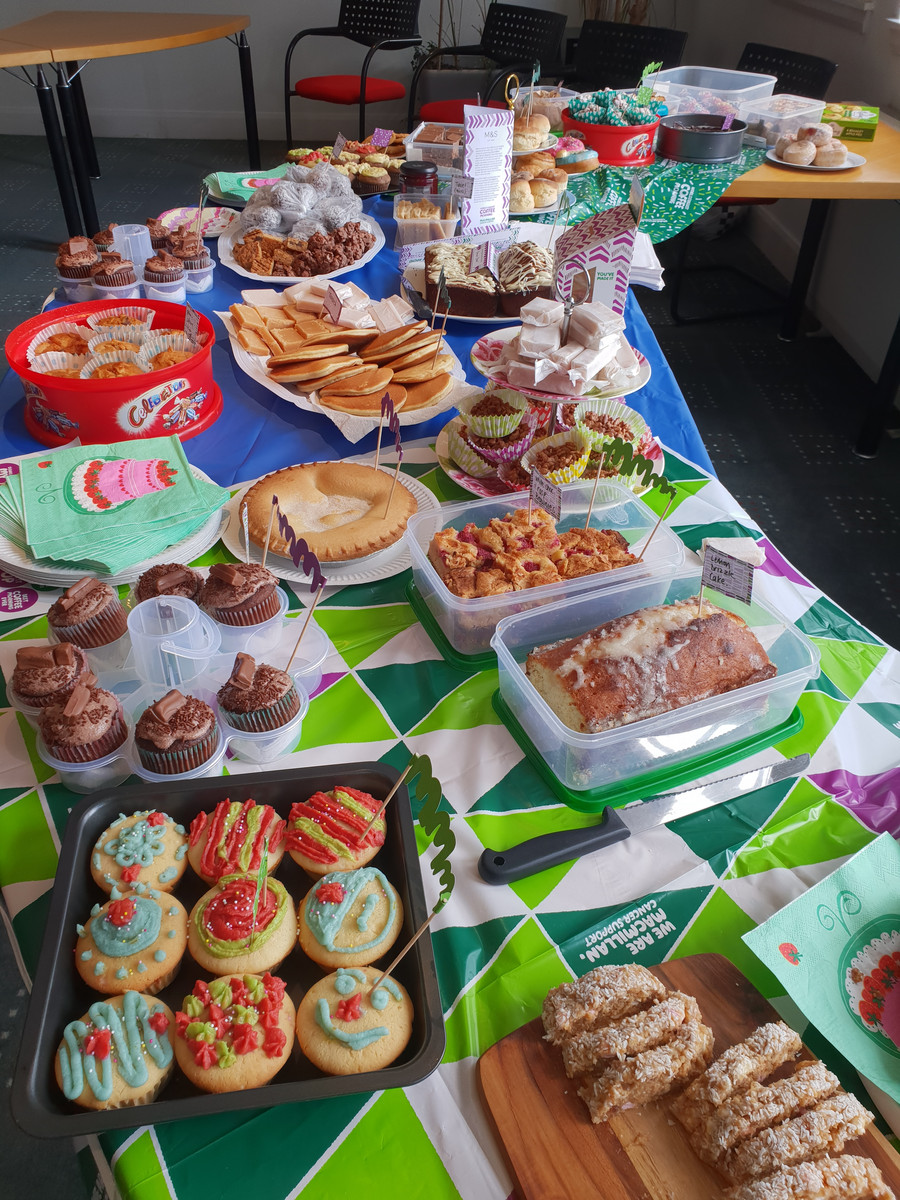 Some of the home baking on offer made by the talented CRGP team to raise money for MacMillan